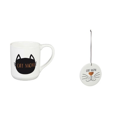 Evergreen Cypress Home Beautiful Cat Mom Cup and Coaster/Ornament Gift Set - 4 x 3 x 4 Inches Homegoods and Accessories for Every Space