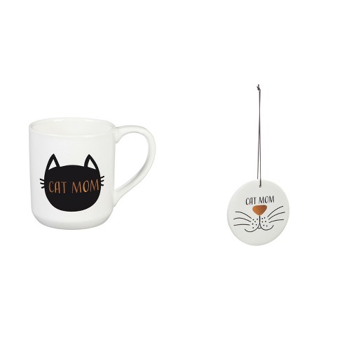 Cypress Home Ceramic Cup, 10 OZ, with Ornament/Coaster Gift Set, Cat Mom - image 1 of 4
