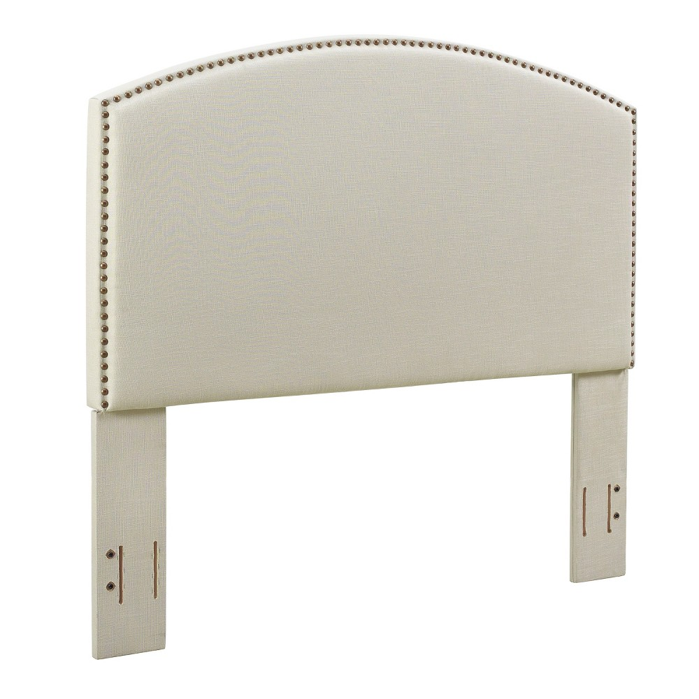 Cassie Curved Upholstered Full/Queen Adult Headboard Linen Cream (Ivory) - Crosley