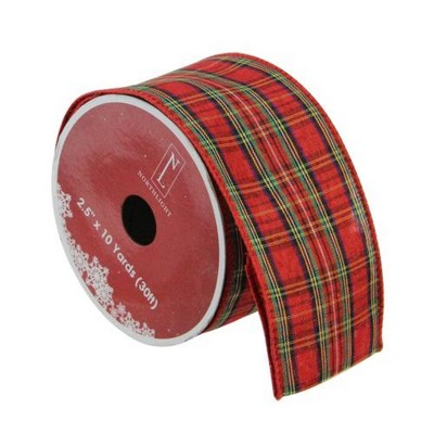 """Northlight Red and Green Plaid Wired Christmas Craft Ribbon 2.5"""" x 10 Yards"""