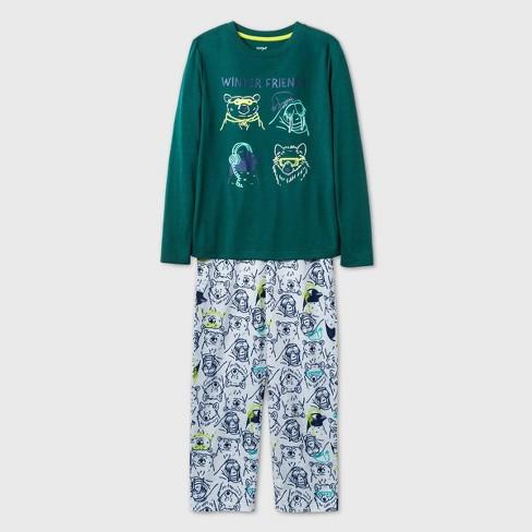 Boys' 2pc Winter Animals Pajama Set - Cat & Jack™ Green - image 1 of 1