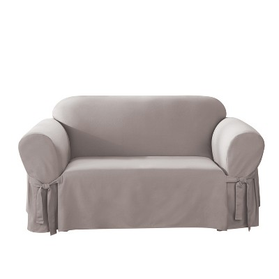 Cotton Duck Loveseat Slipcover Light Gray - Sure Fit