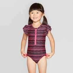 Toddler Girls' Flutter Sleeve One Piece Swimsuit - Cat & Jack™ Black