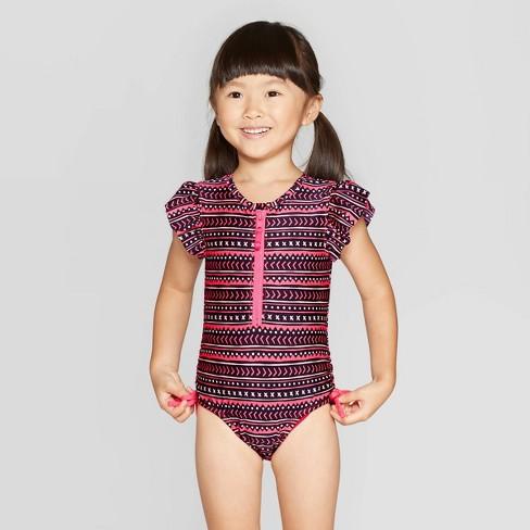 Toddler Girls' Flutter Sleeve One Piece Swimsuit - Cat & Jack™ Black - image 1 of 3