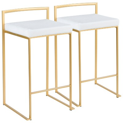 Set of 2 Counter And Bar Stools Gold White - LumiSource
