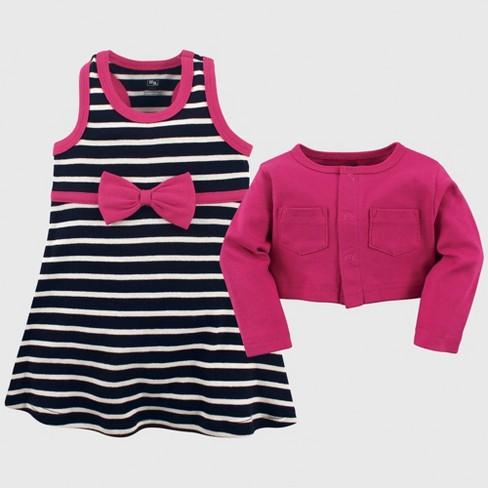 5fd05e89a6d Hudson Baby Girls  Cropped Cardigan   Dress Set - Navy Pink 18-24M ...
