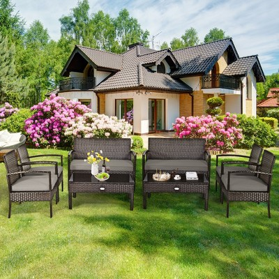 Costway 8PCS Rattan Patio Conversation Set Outdoor Furniture Set Garden w/ Cushion