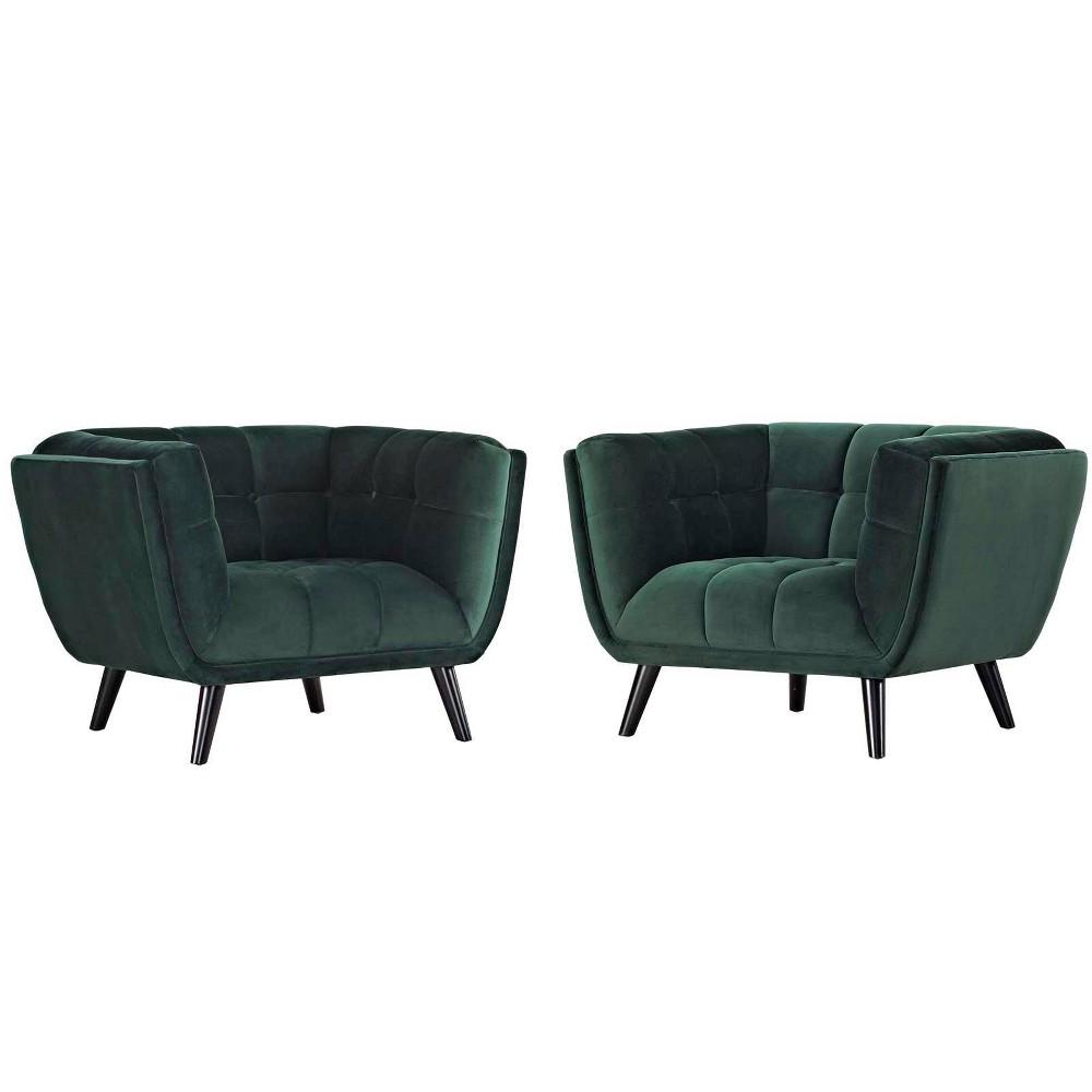 2pc Bestow Velvet Armchair Set Green - Modway