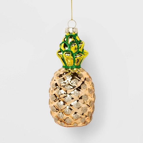 Pineapple Glass Christmas Ornament Yellow - Wondershop™ - image 1 of 2