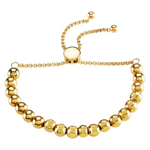 "Women's ELYA Adjustable Pull String Beaded Bracelet - Gold - Size (6mm) 8"" - image 1 of 2"