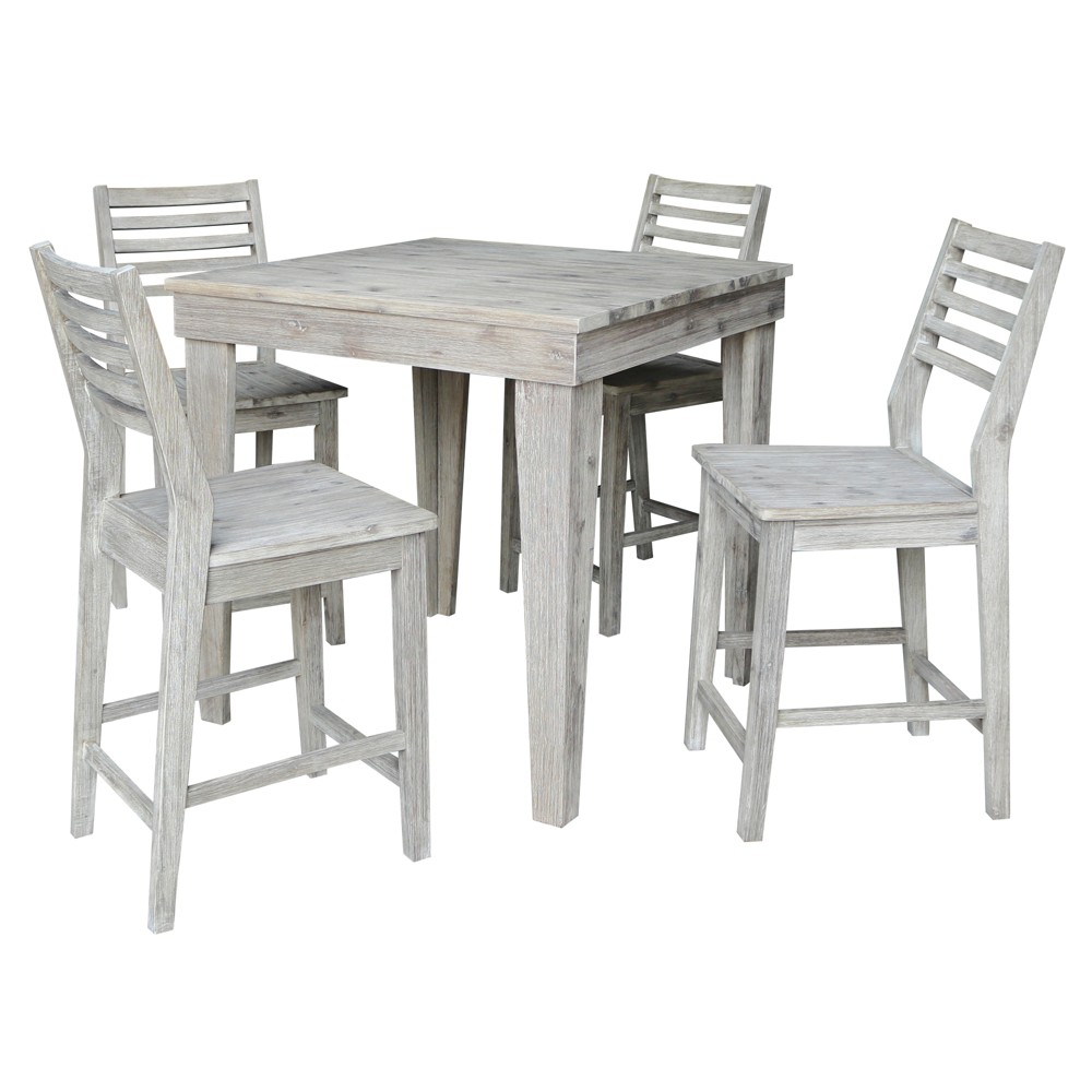 36 Kate Modern Rustic Solid Wood Table with 4 Stools Rustic Gray Wash - International Concepts
