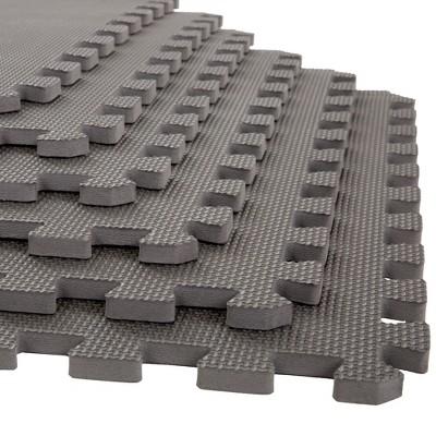 Stalwart 6pk Foam Mat Floor Tiles with Interlocking EVA Foam Padding Gray