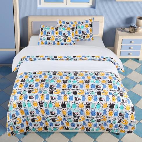 5 Pcs Polyester Monster Pattern Bedding, Twin Monster Bedding