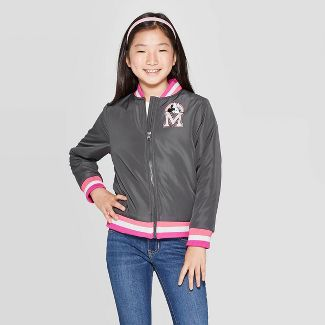 Girls' Varsity Minnie Mouse Unicorn Track Jacket - Dark Gray M