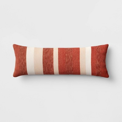 Holiday Oversized Hand Woven Striped Lumbar Throw Pillow Red - Threshold™