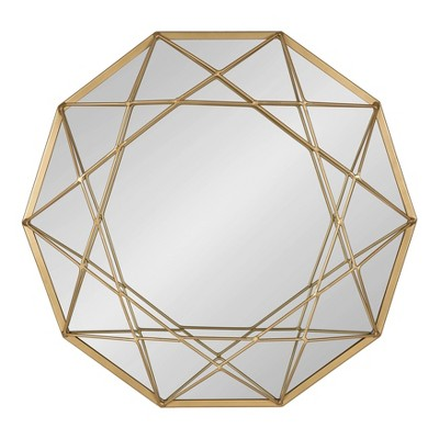 """25"""" Diameter Keyleigh Metal Accent Wall Mirror Gold - Kate and Laurel"""