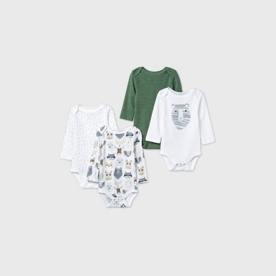 Baby Boys' 4pk Little Cub Long Sleeve Bodysuit - Cloud Island™ Olive Green/White 12M