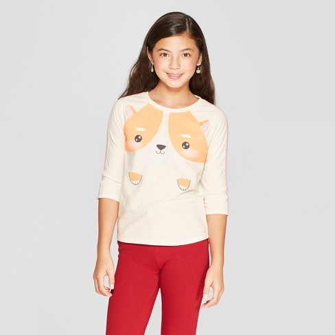 Girls' 3/4 Sleeve Corgi Baseball T-Shirt - Cat & Jack™ Cream XS - image 1 of 3
