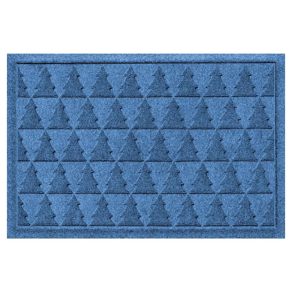 Medium Blue Botanical Doormat - (2'X3') - Bungalow Flooring
