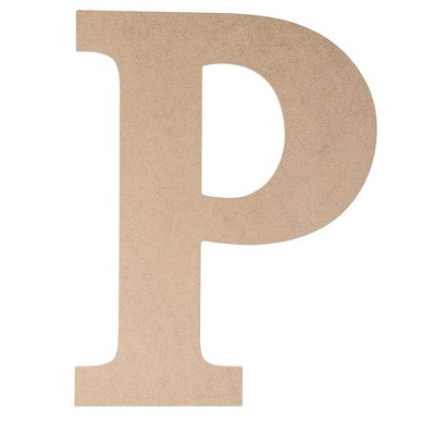 Juvale Unfinished Wooden Alphabet Letters for Home Wall Decor, Greek Letter P for Rho (9 x 11.6 x 0.25 in.)