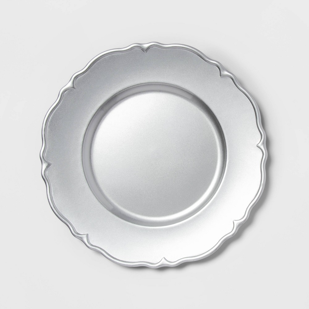 "Image of ""12.9"""" Plastic Scalloped Decorative Charger Silver -Threshold"""