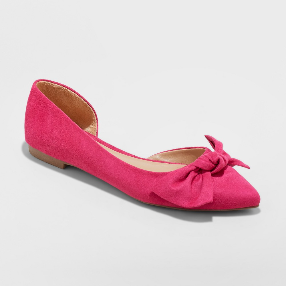 Women's Jayme Wide Width Bow Ballet Flats - A New Day Pink 12W, Size: 12 Wide