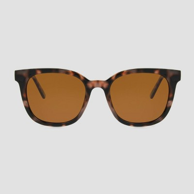 Women's Tortoise Shell Print Surfer Shade Sunglasses with Polarized Lenses - A New Day™ Brown