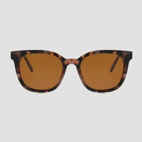 Women's Tortoise Shell Print Surfer Shade Sunglasses with Polarized Lenses - A New Day™ Brown - image 1 of 2