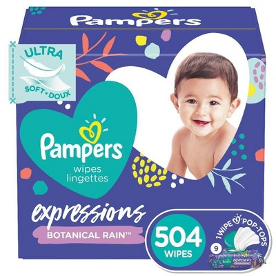 Pampers Expressions Botanical Rain Baby Wipes 9x - 504ct