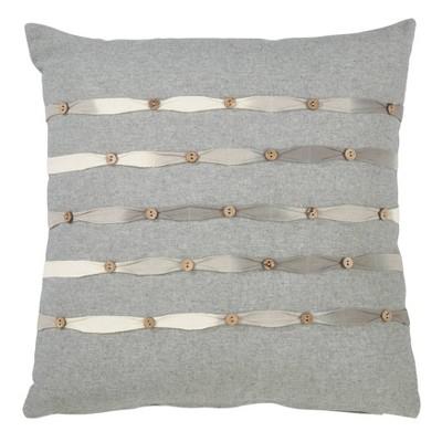 Down Filled Button Work Pillow Gray - Saro Lifestyle
