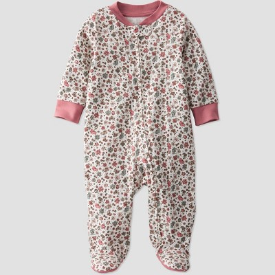Baby Girls' Organic Cotton Floral Sleep N' Play - little planet by carter's Pink/Beige