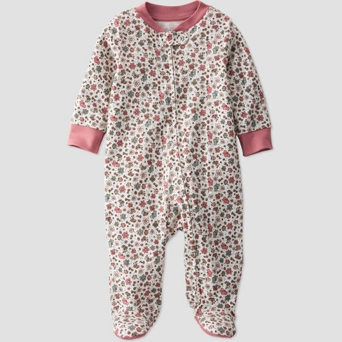 Baby Girls' Organic Cotton Floral Sleep N' Play - little planet by carter's Pink/Beige - image 1 of 3