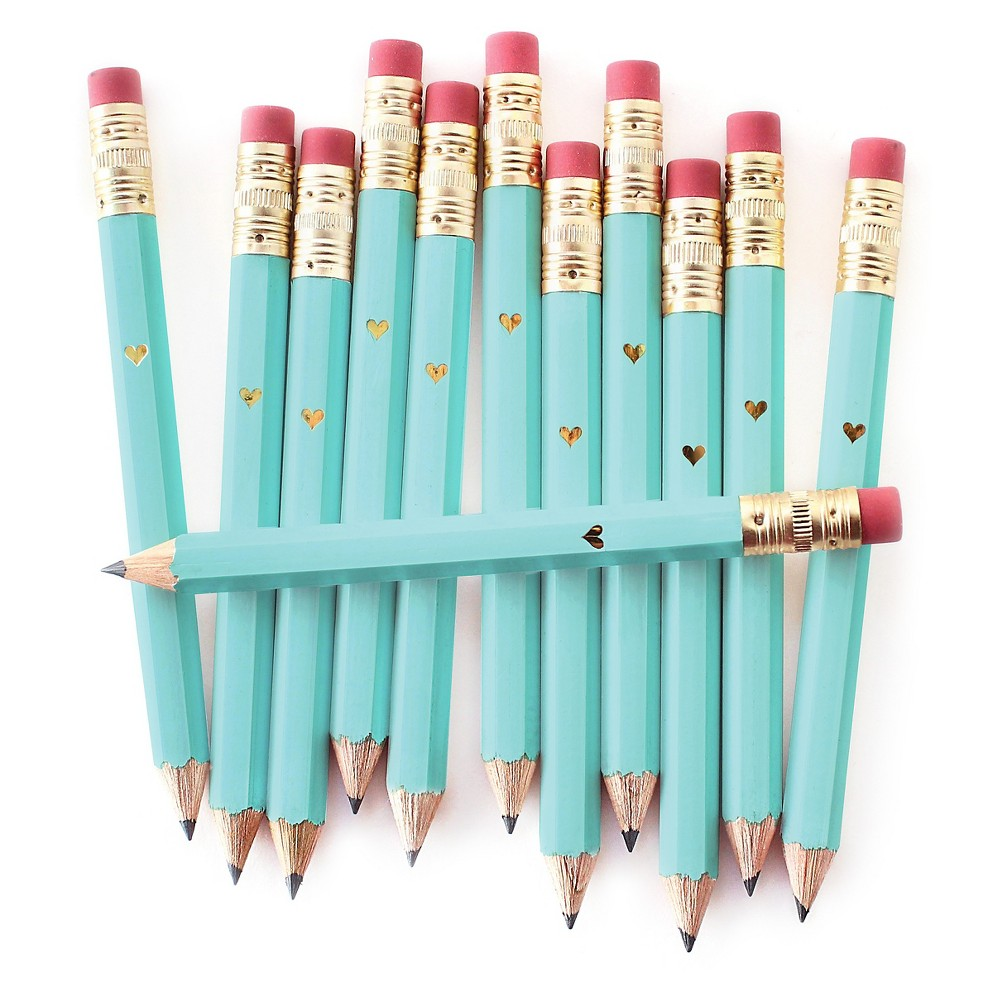12ct Inklings Paperie Teal Heart Mini Pencils