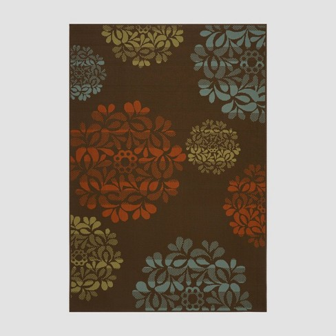 5' x 8' Henley Floral Outdoor Rug Brown/Blue - Christopher Knight Home - image 1 of 4