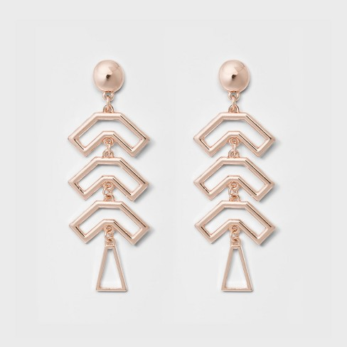 Three U Shaped pc Earrings - A New Day™ Rose Gold - image 1 of 2