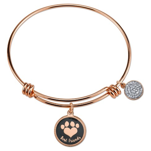 Women S Stainless Steel Best Friends Paw Expandable Bangle Gold Rose 8