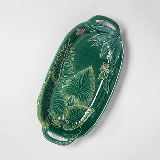 """18.1"""" x 9"""" Stoneware Maiolica Tray Green - Opalhouse™"""