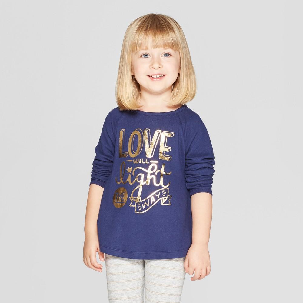 Toddler Girls' Long Sleeve 'Love Light' Graphic T-Shirt - Cat & Jack Navy 5T, Blue