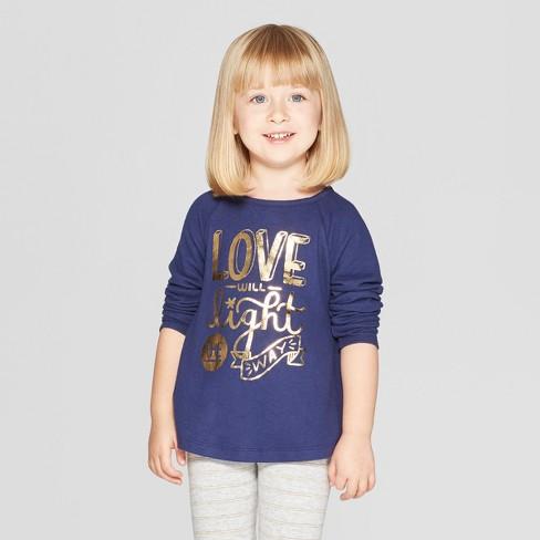 5611ba92 Toddler Girls' Long Sleeve 'Love Light' Graphic T-Shirt - Cat & Jack™ Navy