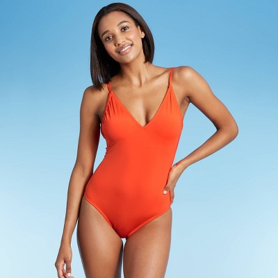 Women's V-Neck One Piece Swimsuit - Kona Sol™ Orange