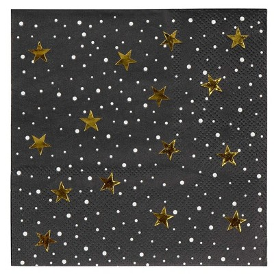 "Blue Panda 50-Pack Starry Night Gold Foil Star Disposable Cocktail Paper Napkin 5"" Birthday Party Supplies"