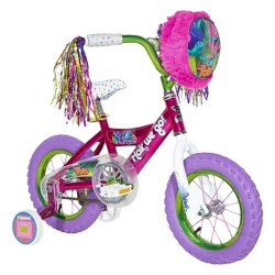 """Trolls 12"""" Kids' Bike with Training Wheels - Pink/Purple"""