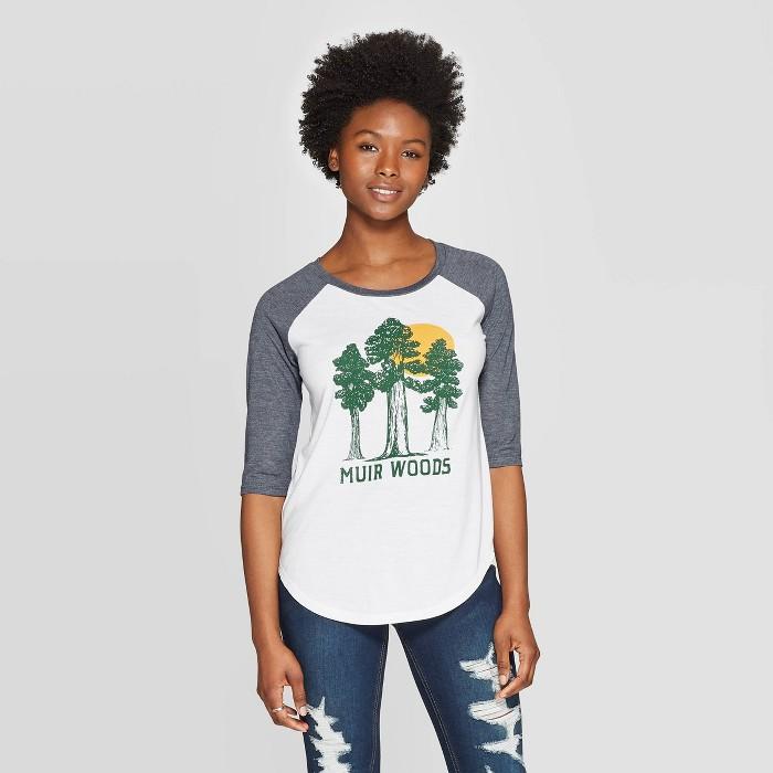 Women's 3/4 Sleeve Scoop Neck Muir Woods Raglan Graphic T-Shirt - Awake White - image 1 of 2