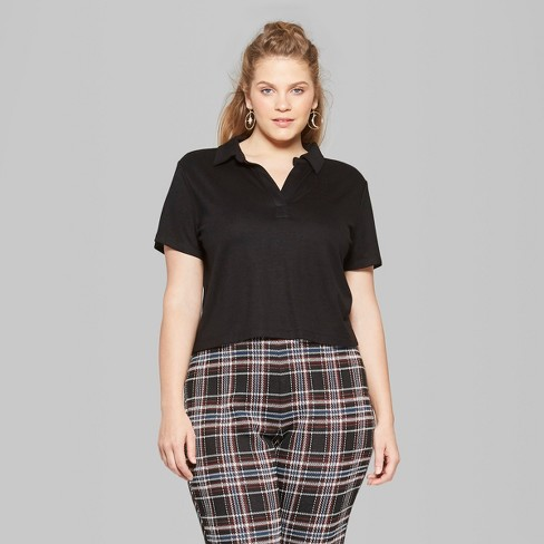 33e91929daa91 Women s Plus Size Short Sleeve Cropped Polo Shirt - Wild Fable™   Target