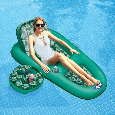 Aqua Leisure AZL14856S1 Campania 2 in 1 Convertible Water Lounger Recliner and Luxurious Inflatable Pool Float with Drink Caddy in Teal Floral Print