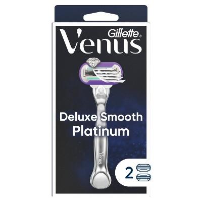 Venus Deluxe Smooth Platinum Women's Metal Handle Razor + 2 Razor Blade Refills