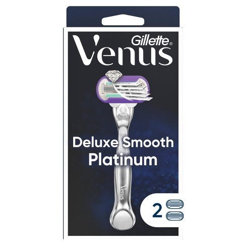 Venus Deluxe Smooth Platinum Women's Metal Handle Razor + 2 Razor Blade Refills - image 1 of 4