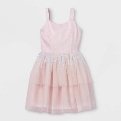 Girls' Shimmer Sequin Sleeveless Tulle Dress - Cat & Jack™ Blush Pink