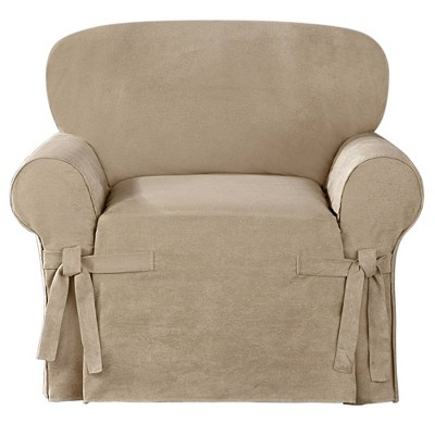 Suede Twill Chair Slipcover Taupe - Sure Fit