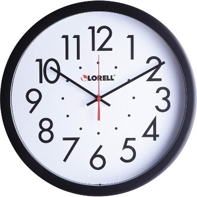 "Lorell Clock Wall Self-Set Round 14-1/2"" Black 61009"